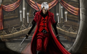Picture guns, sword, candles, sword, hall, hunter, Dante, red coat, Dante, game wallpapers, fanart, fanart, Rebellion, …