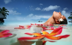Picture sea, flower, summer, water, clouds, face, palm trees, stay, Girl, petals, Girl, summer, resort, exotic, …