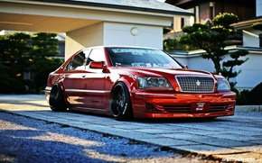 Picture machine, red, tuning, toyota, crown, crown