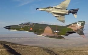 Picture fighters, pair, flight, bombers, McDonnell Douglas, interceptors, Phantom II, F-4E Phantom