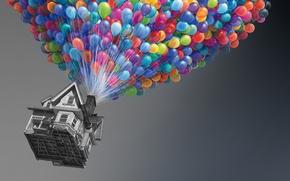 Wallpaper balls, house, up