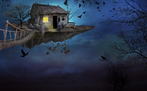 Picture the sky, girl, birds, bridge, house, island, art