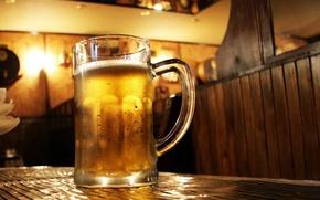 Picture bar, beer, table, mug, pint