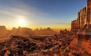 Picture the sun, landscape, sunset, rocks, art, layers, LightDrop