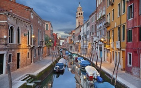 Picture lights, home, boats, the evening, Italy, Venice, channel