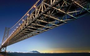 Picture the sky, bridge, island, Japan, Honshu, Kobe, Awaji, akashi kaikyo bridge