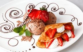 Picture strawberry, ice cream, pancakes, mint, dessert, sweet sticks