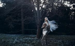 Picture forest, girl, spring, dress, snowdrops, spring awakening