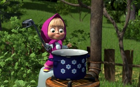Picture nature, garden, pan, Masha and the bear, porridge, ladle