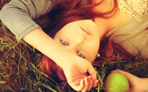 Picture greens, grass, eyes, girl, nature, face, background, Wallpaper, mood, Apple, green, green, red hair