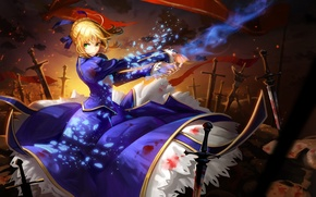 Picture girl, figure, anime, Excalibur, fantasy, art, blonde, battlefield, girl, fantasy, knight, Excalibur, Fate/Stay Night, green …