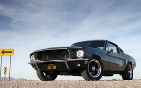 Picture car, mustang, ford, black, ford mustang, muscle, muscle car, pony car, ford mustang bullit, fastback