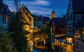 Picture water, the city, lights, street, France, building, home, the evening, lighting, channel, Alsace, Colmar, Colmar