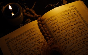 Picture candle, book, religion, Islam, Quran, Arabic script