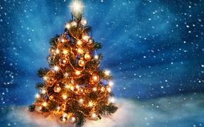 Wallpaper merry christmas, snow, ice, lights, balls of light, decoration, light balls, ice, light, snow, decoration, ...