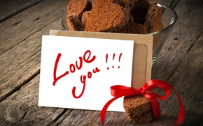 Picture the inscription, heart, cookies, hearts, ribbon, card, love you