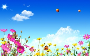 Picture summer, the sky, clouds, light, flowers, nature, balloons, heat, butterfly, spring, summer, Blik, spring