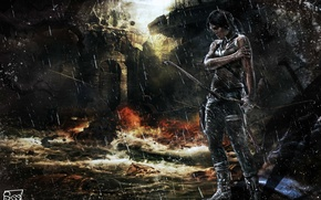 Picture blood, flood, destruction, pain, Lara Croft, wound, Lara Croft, Tomb raider