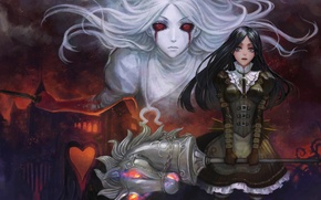 Picture girl, castle, head, unicorn, knife, red eyes, horn, alice in wonderland