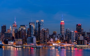 Picture city, lights, USA, Brooklyn, night, New York, Manhattan, reflection, skyscrapers