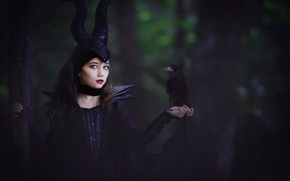 Picture girl, Maleficent, based on the movie