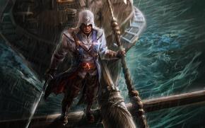 Picture rain, ship, beams, hood, guy, saber, fan art, Assassin's Creed