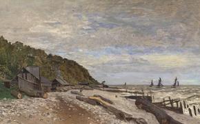Wallpaper Claude Monet, picture, boat, shore, sea, Boatyard near Honfleur, sail, landscape