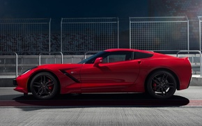 Picture Corvette, Chevrolet, Red, Car, Sport, Stingray, Side View, Track, 2014