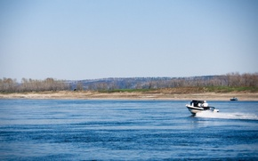 Picture landscape, nature, river, Siberia, hangar