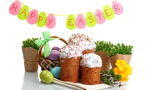 Picture flowers, eggs, Easter, cake, cake, flowers, Easter, eggs, holiday, blessed