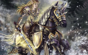 Picture forest, horse, sword, art, running, elf, wow, world of warcraft, blood elf