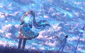 Picture the sky, girl, music, male, hatsune miku, Vocaloid, bounin