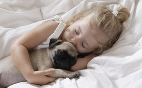 Wallpaper children, childhood, animal, child, dog, sleeping, dog, child, childhood, children, little girl, pet, little girl, ...