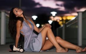 Wallpaper dress, beauty, legs, model, brunette, look