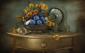 Picture watch, shell, still life, plum, table, marigolds