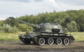 Picture field, forest, installation, self-propelled, Soviet, anti-aircraft, ZSU-57-2