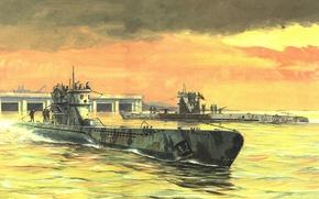 Picture figure, boats, art, underwater, submarine, type, waters, German Navy, France. WW2, VIIC, diesel, IXC, the …
