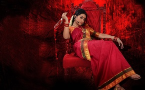 Picture cinema, red, blood, dress, woman, microphone, chair, movie, death, brunette, assassin, film, knife, Indian, sandals, …