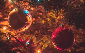 Picture light, decoration, lights, balls, tree, Christmas, New year