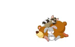 Picture background, sleep, bear, raccoon, Bunny, friends, children's. art