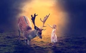 Picture deer, art, girl