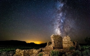 Picture space, stars, night, ruins, the milky way