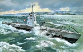 Picture figure, art, U - boat Type 2B, ( 1939 )
