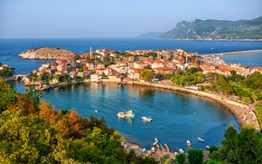 Picture sea, home, Bay, Turkey, harbour, Amasra