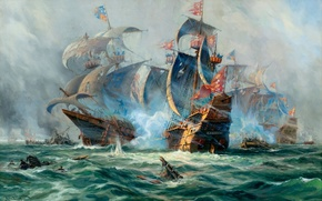 Wallpaper ships, picture, the battle, painting, sailboats, Adolf Bock