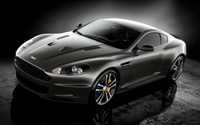 Picture reflection, Aston Martin, Aston Martin, twilight, spec.version, DBS, supercar, Ultimate, black, the front, DBS
