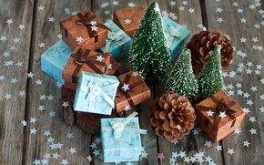 Picture holiday, tree, gifts, stars, confetti