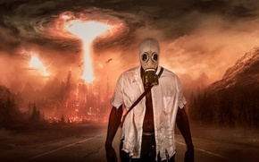 Picture road, the explosion, Apocalypse, man, gas mask