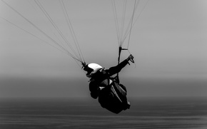 Picture sea, pilot, paraglider, extreme sports