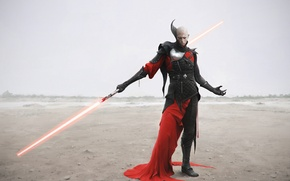 Wallpaper desert, armor, warrior, Dark Side, Star Wars, lightsaber, Star wars, Sith, Sith, art by Facezero